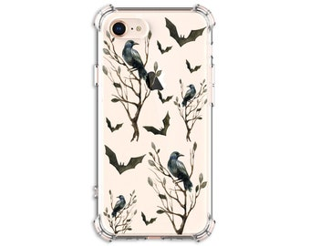 Crows and Bats Phone Case, Halloween Phone case, iPhone 11, 11 Pro, 7 plus, 8, 8 Plus, X, Xs MAX, XR, Samsung Galaxy S8, S8 Plus, S9, Note 9