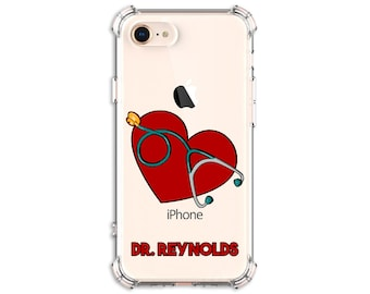 Heart Stethoscope Personalized doctor Gift, iPhone 6, 7, 7 plus, 8, 8Plus, X, Xs, Xs MAX, XR, Galaxy S10, S10e, S9, s9 plus, Note 8, Note 9