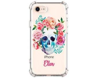 Watercolor Floral Skull Personalized Case, iPhone 6 plus, 8, 8 Plus, X, Xs, Xs MAX, XR, Galaxy S10, S8 Plus, S9, s9 plus, Note 8, Note 9