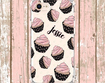 Pretty Cupcake Name Case, iPhone 6, 6 plus, 7, 7 plus, 8, 8 Plus, X, Xs, Xs MAX, XR, Galaxy S8, S8 Plus, S9, s9 plus, Note 8, Note 9
