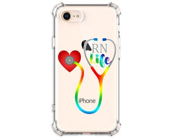 Rainbow RN Life Nurse Gift iPhone 6, 6 plus, 7, 7 plus, 8, 8Plus, X, Xs, Xs MAX, XR, Samsung Galaxy S8, S8 Plus, S9, s9 plus, Note 8, Note 9