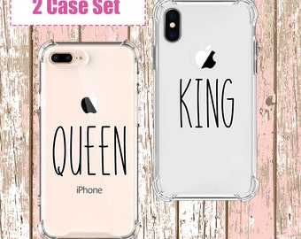 King and Queen Couples Phone set, iPhone 6, 6 plus, 7, 7 plus, 8, 8 Plus, X, Xs, Xs MAX, XR, Galaxy S8, S8 Plus, S9, s9 plus, Note 8, Note 9