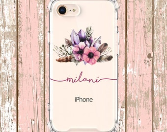 Gems and Flowers Case, iPhone 6, 6 plus, 7, 7 plus, 8, 8 Plus, X, Xs, Xs MAX, XR, Samsung Galaxy S8, S8 Plus, S9, s9 plus, Note 8, Note 9