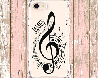 Personalized Music Note, iPhone 6, 6 plus, 7, 7 plus, 8, 8 Plus, X, Xs, Xs MAX, XR, Samsung Galaxy S8, S8 Plus, S9, s9 plus, Note 8, Note 9