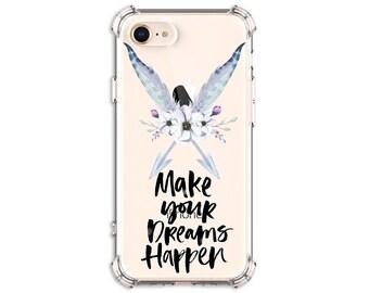 Boho Feather Dream Quote Case, iPhone 6, 6 plus, 7, 7 plus, 8, 8 Plus, X, Xs, Xs MAX, XR, Galaxy S8, S8 Plus, S9, s9 plus, Note 8, Note 9