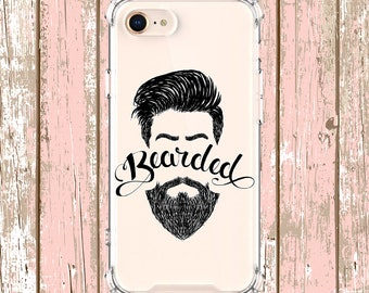 Bearded Word Clear Case, iPhone 6, 6 plus, 7, 7 plus, 8, 8 Plus, X, Xs, Xs MAX, XR, Samsung Galaxy S8, S8 Plus, S9, s9 plus, Note 8, Note 9