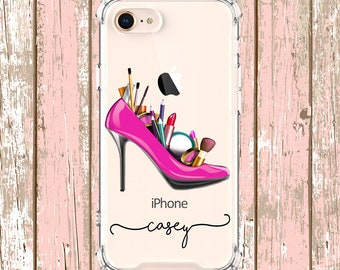 High Heels and Make up Case, iPhone 6, 6 plus, 7, 7 plus, 8, 8 Plus, X,  Xs MAX, XR, Galaxy S8, S8 Plus, S9, s9 plus, Note 8, Note 9