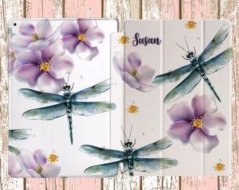Pretty dragonfly and flower with Custom Name for iPad Air, iPad Air 2, iPad pro, iPad 10.5, iPad Mini 4