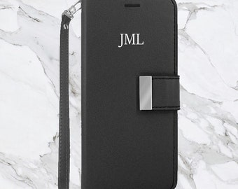 Monogram Wallet Case with Extra Credit Card and Cash Slot for Samsung Galaxy S9, Samsung Galaxy Note 8 Black