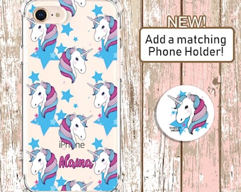 Custom Unicorn Lover With Phone Holder iPhone 6, 6 plus, 7, 7 plus, 8, 8 Plus, Xs MAX, XR, Galaxy S8, S8 Plus, S9, s9 plus, Note 8, Note 9