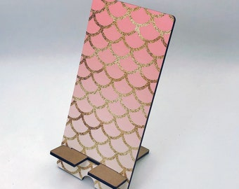 Mermaid and Gold Scales Design Phone Holder, Tablet Holder, Custom Phone stand, Gift for teacher, Birthday Gift, Charging stand