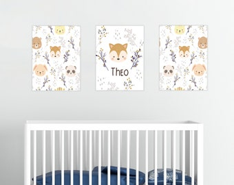Cute Woodland Animals Personalized Wall Art, Baby fox, Baby Boy Room Baby Girl Room Canvas Decor Baby Shower Gift, New Baby Gift