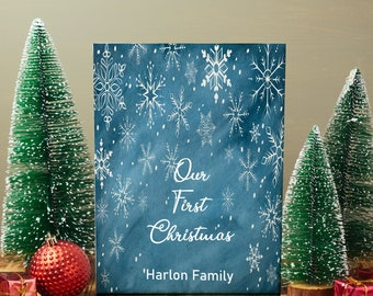 Our first christmas Canvas gift, Snow flake christmas,  Our first christmas, first christmas married, first anniversary, personalized gift
