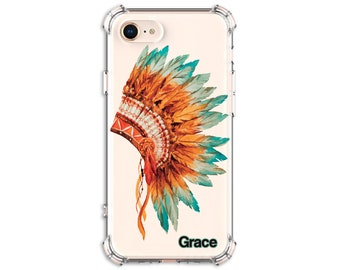 Native American Feather Headdress Personalized Case, iPhone 8, 8 Plus, X,  Xs MAX, XR, Galaxy S8, S8 Plus, S9, s9 plus, Note 8, Note 9