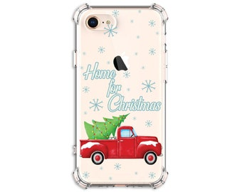 Home for Christmas Phone Case, red Truck, iPhone 11, 11 pro, 11 pro Max, 8, 8 Plus, X, Xs MAX, XR, 12 pro, Galaxy s9 plus, Note 8, Note 9