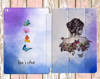 Watercolor Butterflies with Custom Name for iPad Air, iPad Air 2, iPad pro, iPad 10.5, iPad Mini 4