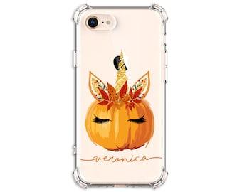 Pumpkin Unicorn with horn Case, Fall Unicorn, iPhone 7 plus, 8, 8 Plus, X,  Xs MAX, XR, Galaxy S10, S8 Plus, S9, s9 plus, Note 8, Note 9