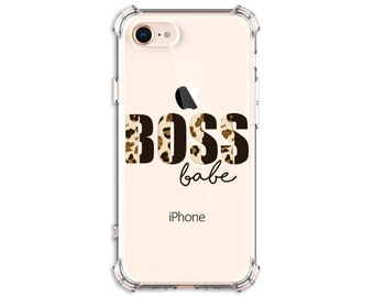 Leopard Print BOSS babe case, iPhone 12 pro max, X, Xs MAX, XR, 11, 11 pro, 11 pro max, Galaxy S21. S20 Fe, Note 8, Note 10 Plus, Note 20