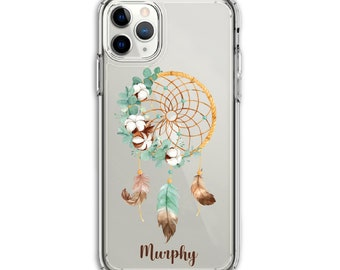 Personalized Heavy Duty Boho DreamCatcher Cotton Clear Protective Hybrid Case, iPhone XR, 11, 11 Pro Max, Galaxy A20, LG Stylo 5, Aristo 3