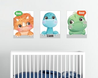 Cute Dinosaur Personalized Wall Art, Baby Dino, Baby Boy Room Baby Girl Room Canvas Decor Baby Shower Gift, New Baby Gift