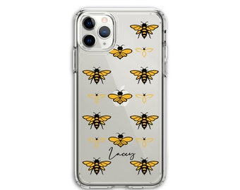 Personalized Heavy Duty Bee Lover Custom Clear Protective Hybrid Case, iPhone XR, 11, 11 Pro Max, Galaxy A20 A30 LG Stylo 5, Aristo 3