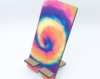 Rainbow Tie Dye Spiral Design Phone Holder, Tablet Holder, Custom Phone stand, Gift for teacher, Birthday Gift, Charging stand