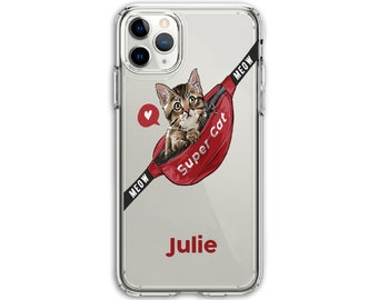Personalized Heavy Duty Valentine cute Cat Lover Clear Protective Hybrid Case, iPhone XR, 11, 11 Pro Max, Galaxy A20, LG Stylo 5, Aristo 3