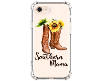 Southern Mama Sunflower Boots, iPhone 11, 11 Pro, 8, 8 Plus, X, Xs MAX, XR, Samsung Galaxy S8, S8 Plus, S9, s9 plus, Note 8, Note 9