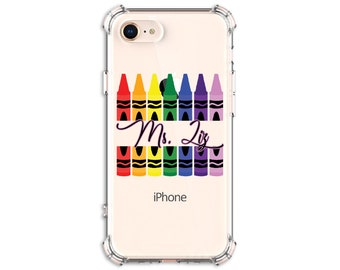 Teacher Gift Christmas, Teacher Crayon, Back to school, iPhone 8, 8 Plus, Xs MAX, XR, 12, 12 pro, Galaxy S20FE, S20, s9 plus, Note 8, Note 9