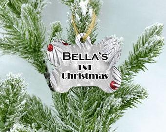 Custom 1st Christmas dog ornament, White Christmas, New Puppy Dog Gift, Dog bone Ornament, Dog Ornament, Personalized Dog Ornament