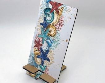 Seashells Design Phone Holder, Tablet Holder, Custom Phone stand, Gift for teacher, Birthday Gift, Charging stand