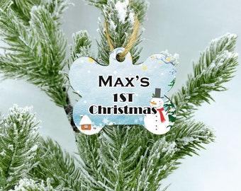 Custom 1st Christmas dog ornament, Snow man ornament, New Puppy Dog Gift, Dog bone Ornament, Dog Ornament, Personalized Dog Ornament