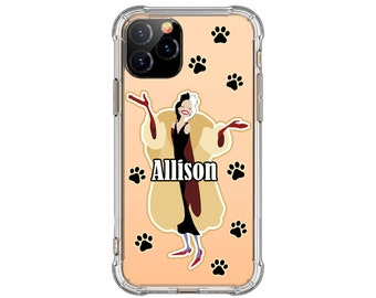 Cruella de Vil Personalized Phone Case, iPhone 12, 12 pro max, 8 Plus, X, Xs MAX, XR, 11, 11pro max, Galaxy S20 plus, Note 9, Note 20 Ultra