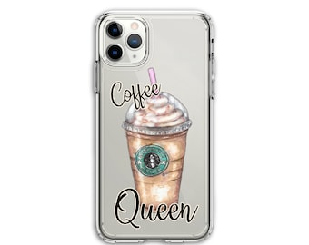 Personalized Heavy Duty Coffee Lover Gift Clear Protective Hybrid Case, iPhone XR, 11, 11 Pro Max, Galaxy A20 A30 LG Stylo 5, Aristo 3