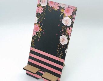 Pretty Roses Design Phone Holder, Tablet Holder, Custom Phone stand, Gift for teacher, Birthday Gift, Charging stand