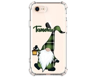 Christmas Green Plaid Gnome, Personalized Gnome Case, iPhone 8, 8 Plus, Xs MAX, XR, 11, Galaxy S10, S8 Plus, S9, Note 8, Note 9