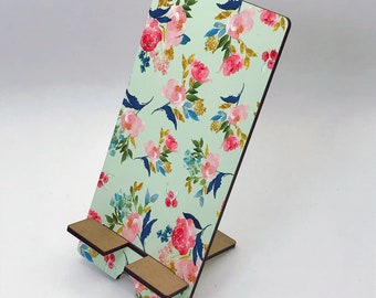 Pretty Teal Foral Design Phone Holder, Tablet Holder, Custom Phone stand, Gift for teacher, Birthday Gift, Charging stand