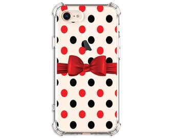 Polka Dot with Bow Phone Case, iPhone 8, 8 Plus, X, Xs MAX, XR, 11, 11pro, 12, 12 pro, Galaxy S8, S8 Plus, S9, s9 plus, Note 8, Note 9