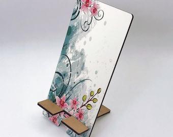 Watercolor Flower Design Phone Holder, Tablet Holder, Custom Phone stand, Gift for teacher, Birthday Gift, Charging stand