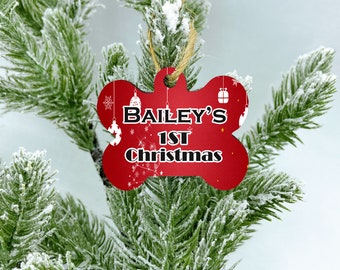Custom 1st Christmas dog ornament, 2020 Christmas ornament, New Puppy Dog Gift, Dog bone Ornament, Dog Ornament, Personalized Dog Ornament