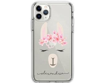 Pretty Llama Script Name, Llama Lover gift, Clear Protective Hybrid Case, iPhone XR, 11, 11 Pro Max, Galaxy A20 A30 LG Stylo 5, Aristo 3