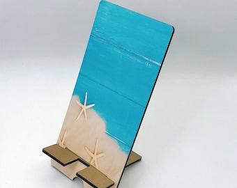 Beach Vibes Wood Starfish Design Phone Holder, Tablet Holder, Custom Phone stand, Gift for teacher, Birthday Gift, Charging stand