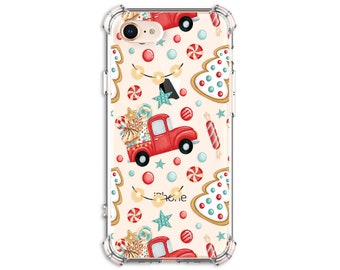 Home for Christmas Phone Case, red Truck, iPhone 11, 11 pro, 11 pro Max, 8, 8 Plus, X, Xs MAX, XR, 12 pro, Galaxy s9 plus, Note 20, Note 9