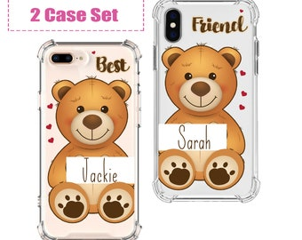 Valentines Day Best Friends Teddy Bear Matching Phone Cases, iPhone 12, 12 pro, 8, 8 Plus, X, Xs MAX, XR, Galaxy S8, S8 Plus, S9, s9 plus