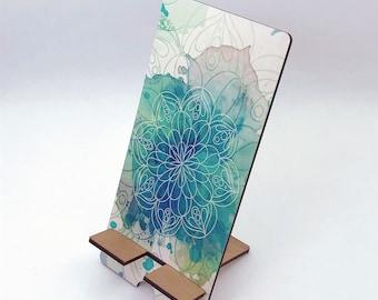 Teal Mandala Watercolor Design Phone Holder, Tablet Holder, Custom Phone stand, Gift for teacher, Birthday Gift, Charging stand