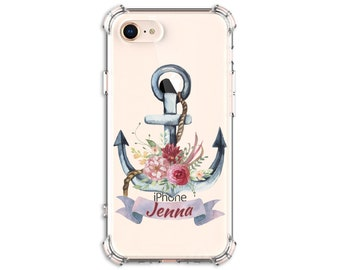 Pretty Anchor Flower Personalized Case, iPhone 7, 7 plus, 8, 8 Plus, X,  Xs MAX, XR, 11, Galaxy S8, S8 Plus, S9, s9 plus, Note 8, Note 9