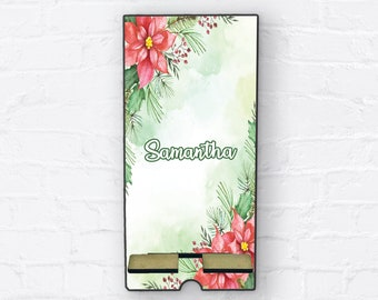 Christmas Poinsettia Phone Stand, Christmas Personalized Design Phone Stand, Tablet Holder, Custom Phone stand, Charging stand