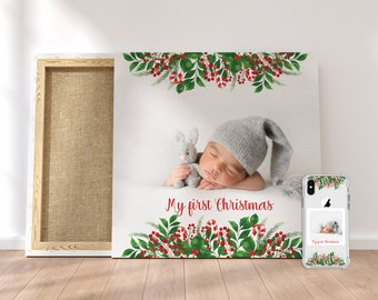 Baby's first Christmas Canvas with Matching Phone Case, Canvas wall art, Grandparent Gift, iPhone 11, iphone 12 pro Max, Galaxy S20, Note 20
