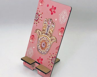 Pink Hamsa Hand Design Phone Holder, Tablet Holder, Custom Phone stand, Gift for teacher, Birthday Gift, Charging stand