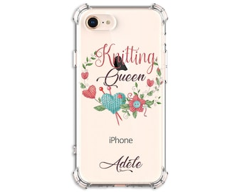 Knitting Queen Personalized Case, iPhone 6 plus, 7, 8, 8 Plus, X, Xs, Xs MAX, XR, Galaxy S8, S8 Plus, S10, S10e, S9, s9 plus, Note 8, Note 9